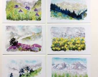 Mountain watercolor post cards series 2