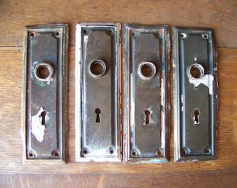 Antique Shabby Chic Door Plates(set Of 4)Door Knob Backplates.Antique Door