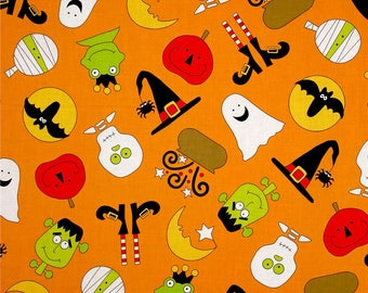 Quite a Fright on Orange from Andover Fabric's Fright Night Collection - Halloween Fabric