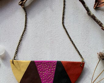 Statement Necklace from Polymer clay handmade geometric pieces