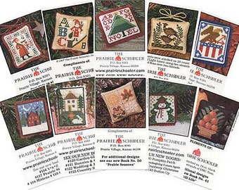 PRAIRIE SCHOOLER 10 Mini-Card Set Collection B counted cross stitch patterns Easter Spring 4th of July