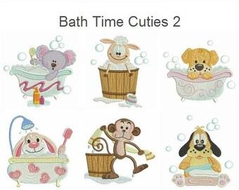 Bath Time Cuties 2 Cartoon Animal Machine Embroidery Designs Instant Download 4x4 hoop 10 designs APE1922