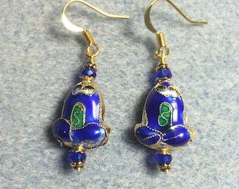 Blue frog earrings: Blue cloisonné frog bead earrings adorned with blue Chinese crystal beads.