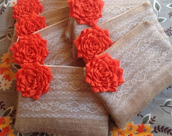 8 Custom Clutches, Orange Bridesmaid, Bridal Party Gifts, Lace Wedding, Burlap Bags, Flower Girl Gift, Bridal Clutch, Bridesmaid Clutch