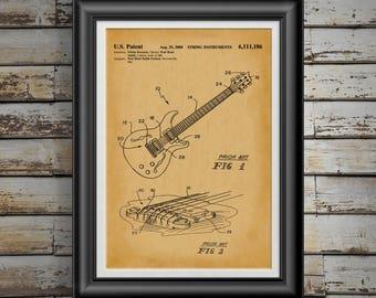 Paul Reed Guitar Patent Print Guitar Player Gift for Guitar Player Art Gift for Rock and Roll Band Gift for Country Band Gift for Him PP5052