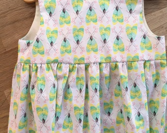 Girls' White and Lime Green Sleeveless Empire Waist Dress with Bugs