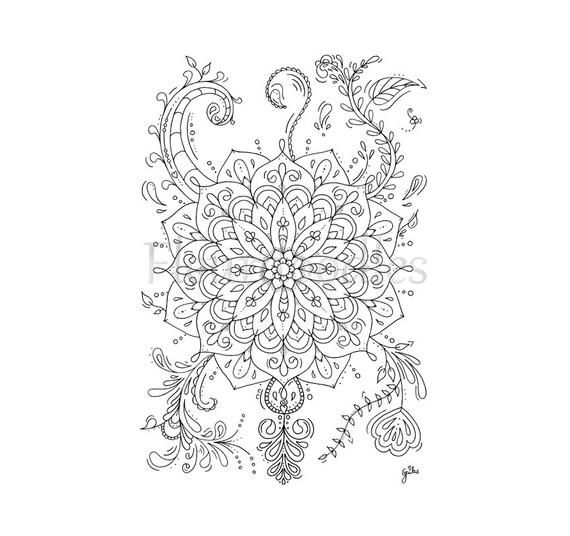 florales bild zum ausmalen mandala flower handgezeichnetes