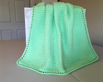 Crocheted Waffle Stitch Baby Afghan -Bright Green