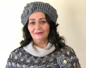 Gray Women's Crochet Beret