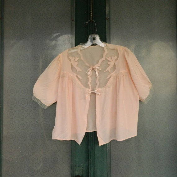 Vintage Pink Semi Sheer Bed Jacket