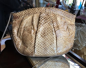 Vintage Snakeskin and Tan Leather Crossbody Handbag Purse
