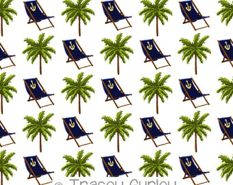 Navy Beach Chair and Palm Tree Pattern Repeat on White - Original Art download, palm tree printable paper, beach chair digital paper