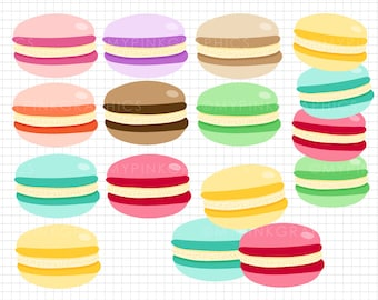 11 Macaroons Clip Art - Digital Macaroons, Macaroon Clipart, Digital Download, Commercial Use, Food Clipart, Birthday Clipart - MPG99
