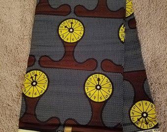 Clock print Ankara fabric. Wax. Dutch. African print
