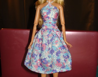 Handmade in Las Vegas - colorful floral top & skirt set for Fashion Dolls - ed238