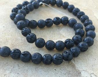 Lava Beads, Round Lava Beads, 8mm Lava Beads, 16 inch strand, 8mm