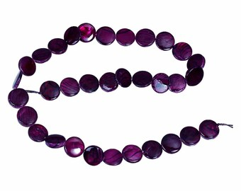 10 pearls 10 mm flat/round plum Pearl