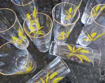 Vintage Tall Glasses with a Golden Wheat Pattern, set of 10