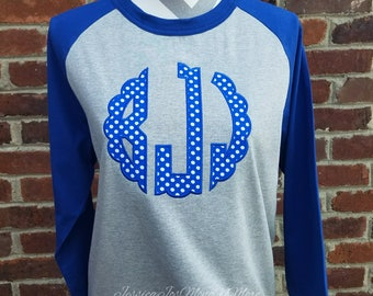 Monogram Raglan Shirt-Monogram Scallop Shirt-Polka Dot Monogram Shirt-Kentucky Colors