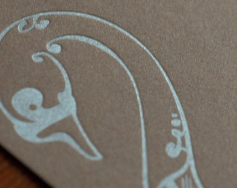 Natalie's Swan - Letterpress Bird Notecard