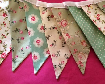 Beautiful Cotton Double Sided Bunting - Green Floral Dotty Vintage Style - Pink, Blue, Green Cakes