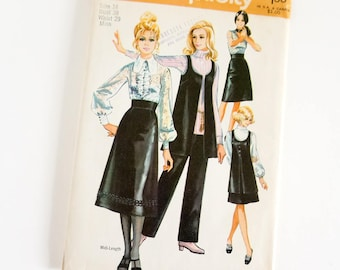 Vintage 1970s Womens Size 16 Skirt in Two Lengths, Vest and Pants Simplicity Sewing Pattern 9065 FACTORY Folds / bust 38 waist 29