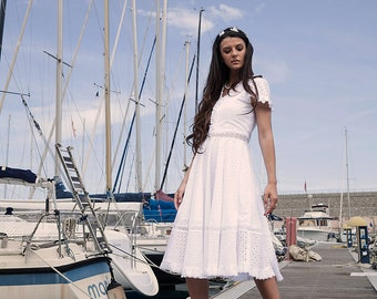 Cotton dress with ruffles in white, summer dress made of hole embroidery, romantic dress, wedding dress, ruffled dress made of white lace