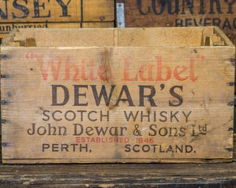 Antique WHISKY Crate with Bottle Insert, Rustic Scotch Whiskey Box, DEWAR'S Whiskey Perth Scotland, Rustic Home Decor, Old Wooden Crate