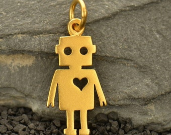 Robot with Heart Necklace - 24k Gold Plated Sterling Silver Vermeil Charm - Insurance Included