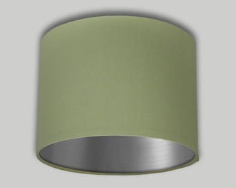 Green Drum Lampshade Brushed Silver Inner Lightshade Lamp Shade 20cm 25cm 30cm 35cm 40cm 50cm 60cm 70cm