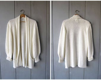 Slouchy White Cardigan Sweater 80s Long Open Cocoon Sweater Coat POCKETS Minimal Duster Vintage Nubby Sweater DES Womens Large XL