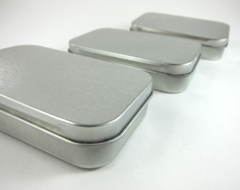 3 Steel Metal Boxes Hinged Rectangular Tins - Wedding Favor Boxes Mint Tins