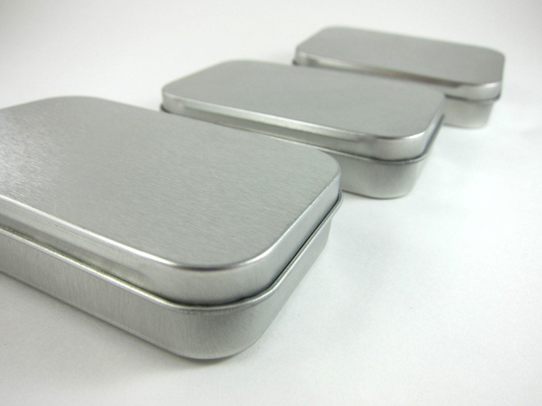 3 Steel Metal Boxes Hinged Rectangular Tins - Wedding Favor Boxes ...