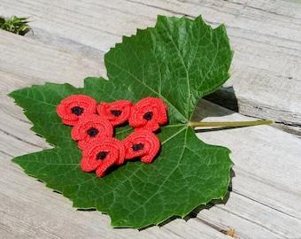 Poppy flowers set of 6 Red flowers applique  Crocheted poppies  Handmade flowers Embellishment