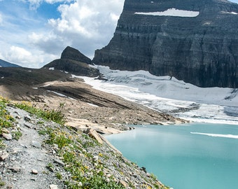Upper Grinnell Lake, Glacial Waters, Top of the World, Summer Journey, Photograph or Greeting card