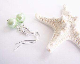 Light Green Glass Pearl Earrings - FREE SHIPPING WAI - necklace also available - Petite - small - weddings - formal - bridesmaids