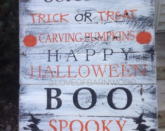 Candy Apple October 31 Carving Pumpkins | Barn Wood Sign