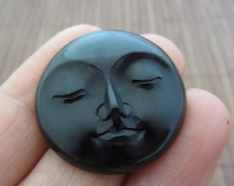 30 mm  Moon Face Cabochon with Closed Eyes, Organic Cabochon, Buffalo horn carving, Embellishment, Jewelry making SUpplies B5057