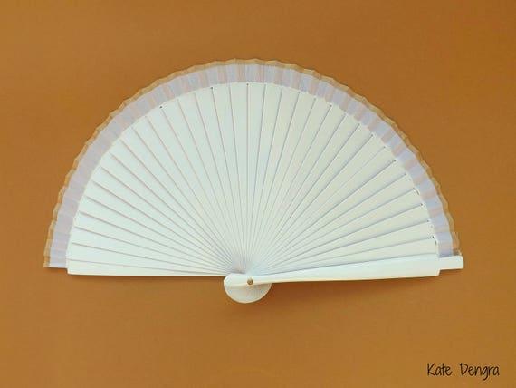 Simple White Fan Gold Border Wood Folding Hand Fan SIZE OPTIONS Spanish Wooden Hand Held Fan Cooling Accessory