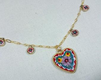 Heart Micro Mosaic Pendant Festoon Necklace, Italy, Grand Tour, Souvenir Jewelry