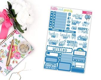 Dark Blue Functional Sampler, Planner Stickers for the Erin Condren Life Planner, Sampler Sheet - [FS0010]