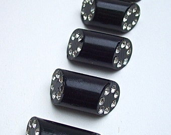 Set of 5 Vintage DRESSY Black Diagonal Rod BUTTONS with Embedded RHINESTONE  Ends
