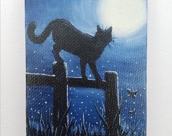 Original mini cat painting, cat in the moonlight, original acrylic painting.