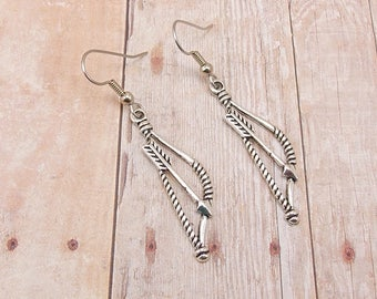 Earrings - Pewter Bow and Arrow - Archery Teams - Customize with Team Colors - Archery Mom - League