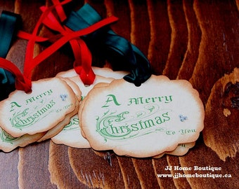 Christmas Tags,A Merry Christmas Gifts Tags, Gift Tags, Favor Tags, Vintage Tags, set of 8