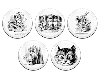 5x Alice In Wonderland 25mm / 1 Inch D Pin Button Badges
