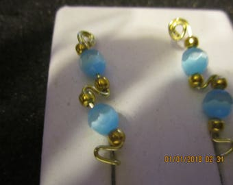 Pair of Gold Tarnish Resistant Wire Blue Cat Eye Ear Climber Pin Vine Earrings