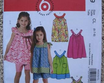 UNCUT Girls Tops, Dresses and Shorts - McCalls Pattern M5839
