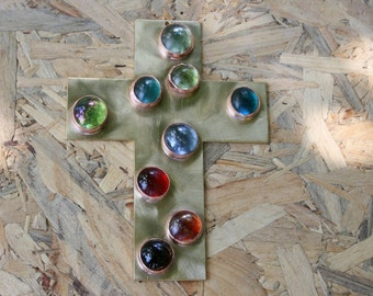Home Decor, Colorful glass Cross, Solid Brass Cross, Wall Hanging Cross, Metal Cross
