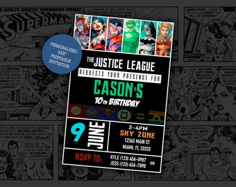 Justice League Birthday Party Invitation